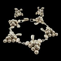 Vivacious Vintage Bunch of Grapes Sterling Demi-Parure c. 1950