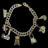 """On the Move"" Vintage 1950's Sterling Silver Charm Bracelet"