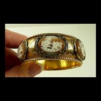 Voluptuous Victorian Gold Bracelet with Georgian Cameos and Marcasites