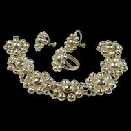 Marvelous Mid Century Modern Taxco 980 Silver Parure c. 1950