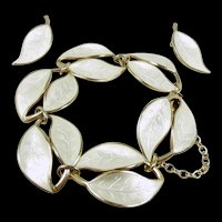 Darling Mid Century David Andersen Enamel Bracelet and Earring Demi-Parure/ Suite c. 1950