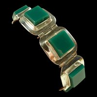 Tempting Taxco Acosta Onyx and Silver Bracelet c. 1950