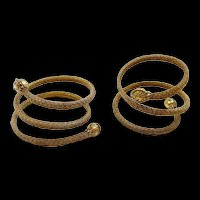 Evocative Etruscan Revival Pair of Victorian Wire Work Woven Bracelets c. 1860