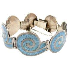 Magical Margot de Taxco Enamel and Sterling Circular Spiral Bracelet #5357 c. 1955