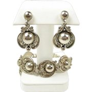 Intriguing Silver Hearts Margot de Taxco Sterling Bracelet Earrings Demi-Parure #5210  c. 1950