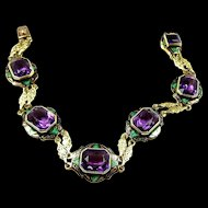 Divine Deco Amethyst and Enamel Gold Egyptian Revival Bracelet c. 1925