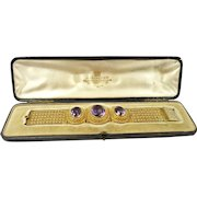 Glamorous Etruscan Revival Granulated Gold Victorian Amethyst Bracelet by Charles Packer c. 1860