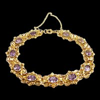 Serene Art Nouveau Amethyst Link Bracelet c. 1890