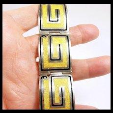 """Special Margot de Taxco Enamel """"Square Scroll"""" Bracelet #5376 c. 1955"""