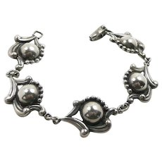 Early Los Castillos Bracelet Designed by Margot de Taxco #595 c. 1940-45