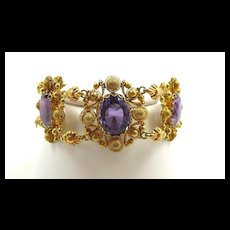 Lovely Late Georgian Cannetille Amethyst Bracelet