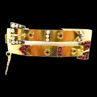 Beautiful Victorian Double Belt Bangle Bracelet c. 1880