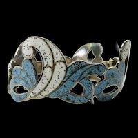 Bold Margot de Taxco Enamel Bracelet  Overlapping Curls #5734 c. 1960