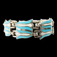 Dishy Double Bellflower Margot de Taxco Enamel Bracelet c. 1955