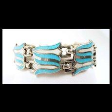 Dishy Double Bellflower Margot de Taxco Enamel Bracelet c. 1955