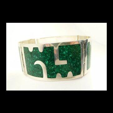 Bold Bernice Goodspeed Sterling Inlayed Link Bracelet c. 1950
