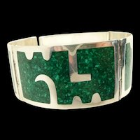 Bold Bernice Goodspeed Sterling Inlayed Link Bracelet c. 1950