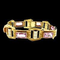 Zeitgeist Bauhaus Sapphire Gold Bi-Color Bracelet c. 1920