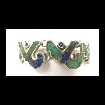 Cool Los Castillo Mosaico Azteca Bracelet #161 c. 1955