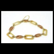 Colorful Art Deco Enamel Link Bracelet c. 1920