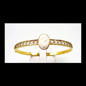 Frilly Art Nouveau Bangle Bracelet c. 1908