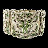 Classic Scroll Margot de Taxco Enamel Bracelet #5583 c. 1955