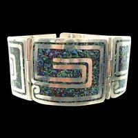 Lilting Margot de Taxco Confetti Enamel Square Scroll #5376 c. 1955