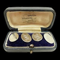Elegant Victorian Sterling Cufflinks in Box by G.H. Johnstone Birmingham