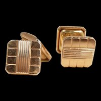 Magical Murat Paris Yellow and Rose Gold Chain Drive Cufflinks c. 1950
