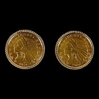 Dramatic Men's Cufflinks Gold Incused Indian Head Coins-1908 & 1914