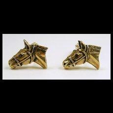 Lucky Realistic Horse Head Cufflinks c. 20th. C