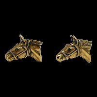 Lucky Realistic Horse Head Cufflinks c. 20th. C