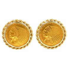 Special Matching Gold 1910 Incused American Indian Coin Cufflinks
