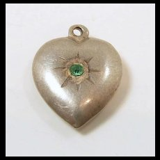 Pretty Puffy Heart Sterling Charm c. 1950