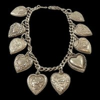 Charming and Sweet Sterling Puffy Heart Charm Bracelet c. 1920-1950