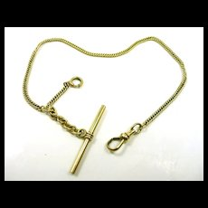 Classic Gold Watch Chain w Toggle c. 1900