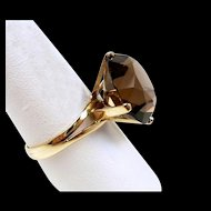 Stupendous Smoky Quartz Vintage Ladies Fashion Ring c. 1960