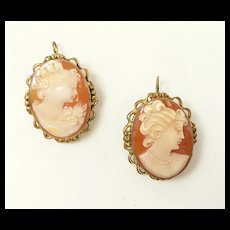 Double Delight Two Cameo Pendant/Brooch Combo c. 1955