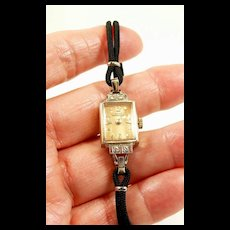 Gentile Girard Perregaux 14KT. WG Diamond Ladies Fashion Watch C. 1940