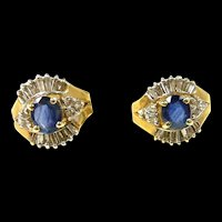 Scrumptious Sapphire and Diamond Earrings with Lots of Charm c. 1980