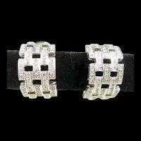 Voluptuous Diamond Studded Lattice Earrings c. 1990