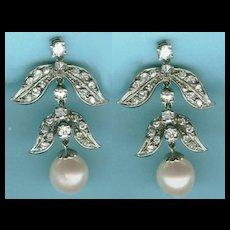 Amazing Deco Diamond Pearl Chandelier Earrings c. 1935