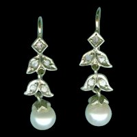 Dramatic Victorian Diamond and Natural Pearl Earrings c. 1875