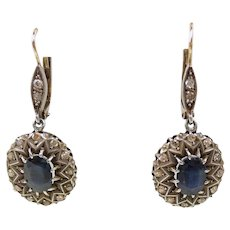 Tempting Victorian Sapphire and Diamond Drop Earrings c. 1880