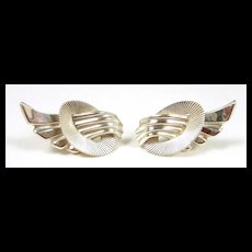 Dramatic 1950 Era Vintage Danecraft Sterling Winged Earrings