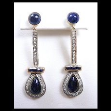 Elaborate Edwardian Dangle Earrings w Briolette Sapphires c. 1910