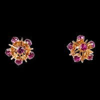 Enticing Starburst Vintage Ruby Earrings c. 1960