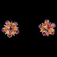Enticing Starburst Vintage Ruby Earrings c. 1960