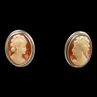 Interesting Classic Cornelian Cameo Earrings c. 1950
