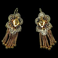 Scrumptious Victorian Revival Diamond Earrings with Enamel